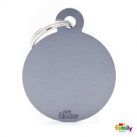 Médaille Basic grand cercle alu gris
