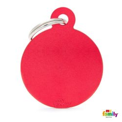 Médaille Basic grand cercle alu rouge