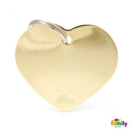 Médaille Basic grand coeur laiton doré