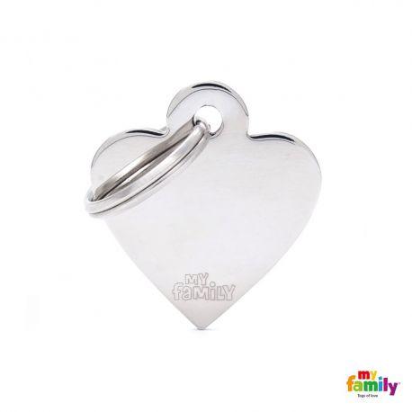 Médaille Basic petit coeur laiton chromé