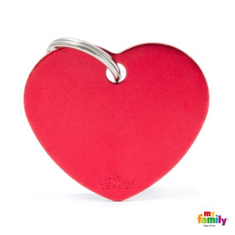 Médaille Basic grand coeur alu rouge