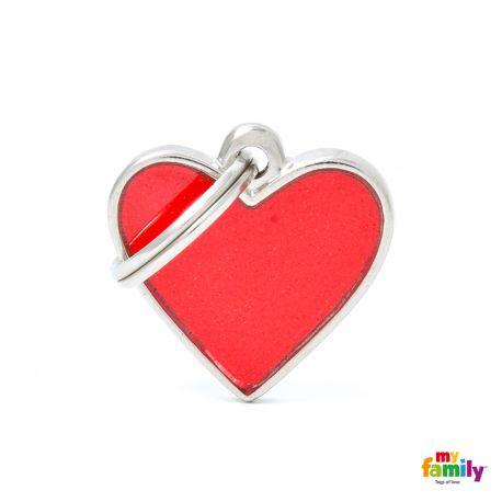 Médaille Reflective petit coeur rouge