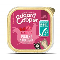 Barquette chaton Poulet et Truite 85g Edgar Cooper