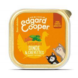 Barquette chat Dinde et Crevettes 85g Edgar Cooper