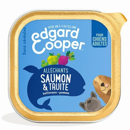 Barquette chien Saumon et Truite 150g Edgar Cooper