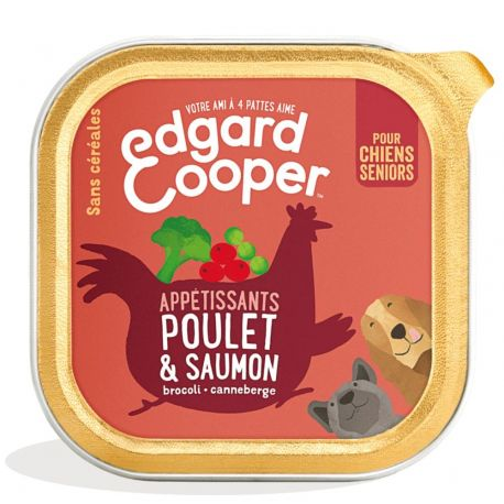 Barquette chien senior Poulet et Saumon 150g Edgar Cooper