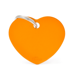Médaille Basic grand cœur alu orange