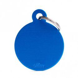 Médaille Basic grand cercle alu bleu