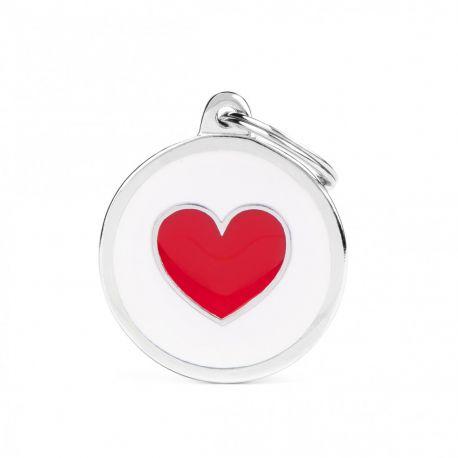 Médaille Charms Cœur Blanc fond rouge