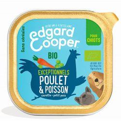 Barquette chiot Poulet et Poisson bio 100g Edgar Cooper