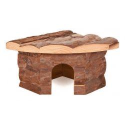 Maison d'angle en bois